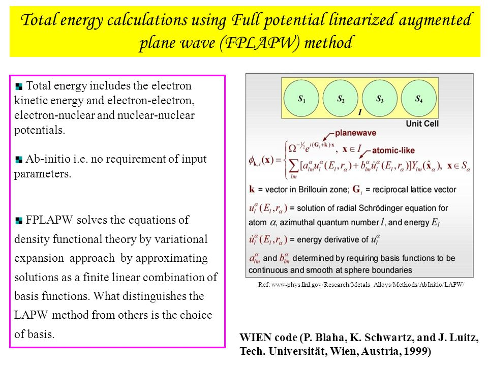 Ref: www-phys.llnl.gov/Research/Metals_Alloys/Methods/AbInitio/LAPW/ Total energy calculations using Full potential linearized augmented plane wave (F
