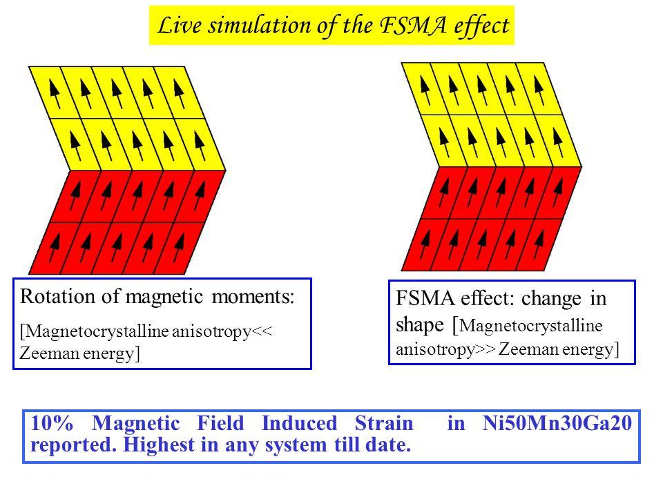 Live simulation of the FSMA effect Rotation of magnetic moments: [Magnetocrystalline anisotropy<< Zeeman energy] FSMA effect: change in shape [ Magnet