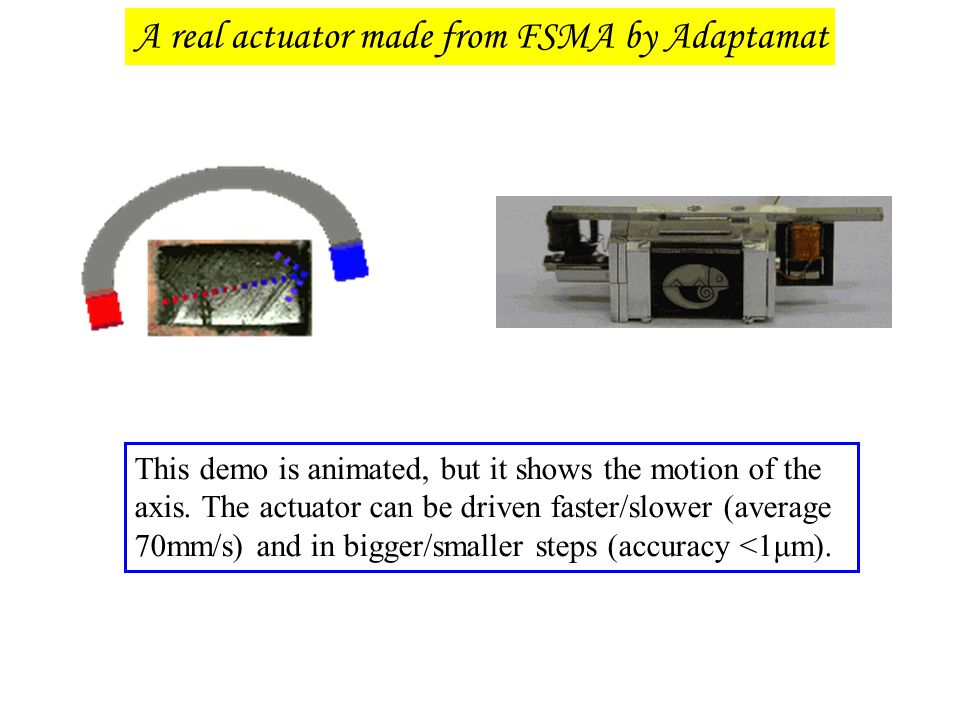 This demo is animated, but it shows the motion of the axis. The actuator can be driven faster/slower (average 70mm/s) and in bigger/smaller steps (acc