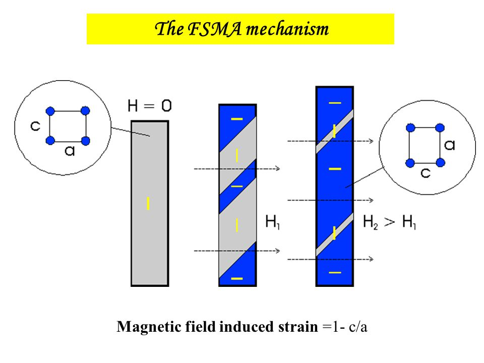 The FSMA mechanism Magnetic field induced strain =1- c/a