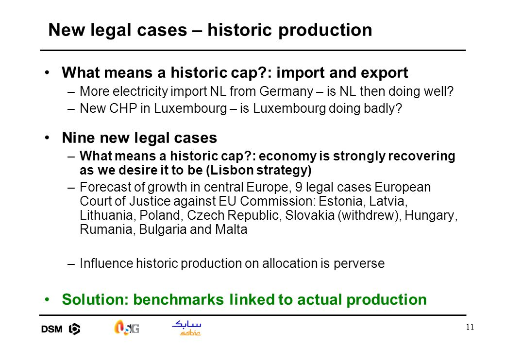 11 New legal cases – historic production What means a historic cap?: import and export –More electricity import NL from Germany – is NL then doing wel