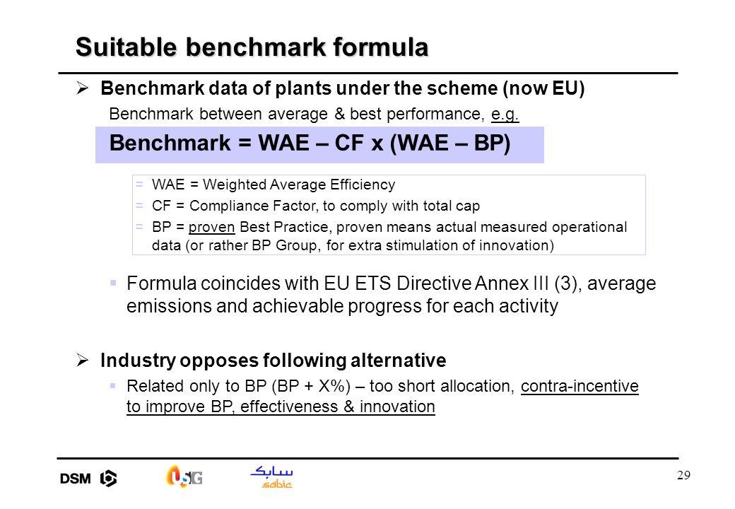 29  Benchmark data of plants under the scheme (now EU) Benchmark between average & best performance, e.g.