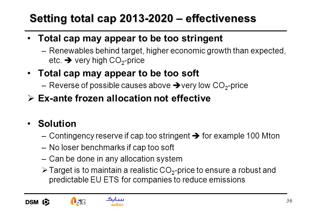 36 Setting total cap 2013-2020 – effectiveness Total cap may appear to be too stringent –Renewables behind target, higher economic growth than expecte