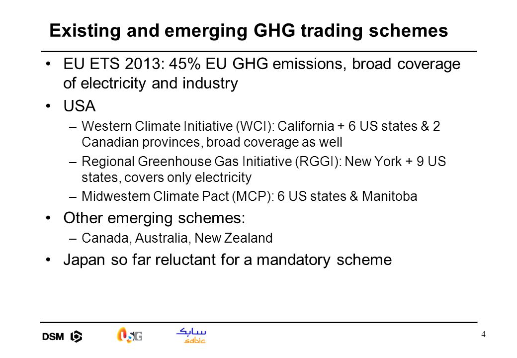4 Existing and emerging GHG trading schemes EU ETS 2013: 45% EU GHG emissions, broad coverage of electricity and industry USA –Western Climate Initiat