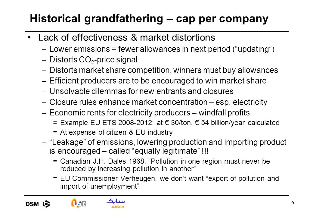 "6 Historical grandfathering – cap per company Lack of effectiveness & market distortions –Lower emissions = fewer allowances in next period (""updating"
