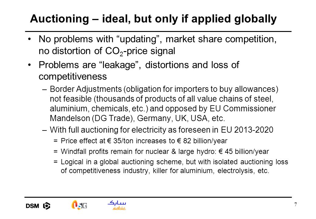 "7 Auctioning – ideal, but only if applied globally No problems with ""updating"", market share competition, no distortion of CO 2 -price signal Problems"