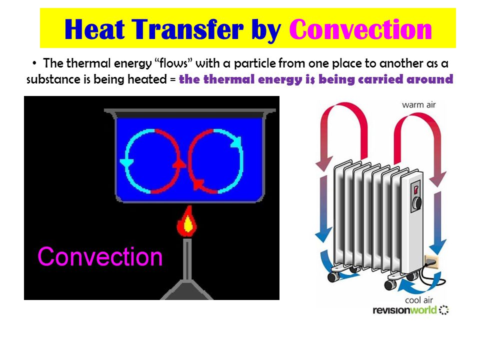 Heat Transfer by Convection The thermal energy flows with a particle from one place to another as a substance is being heated = the thermal energy is being carried around
