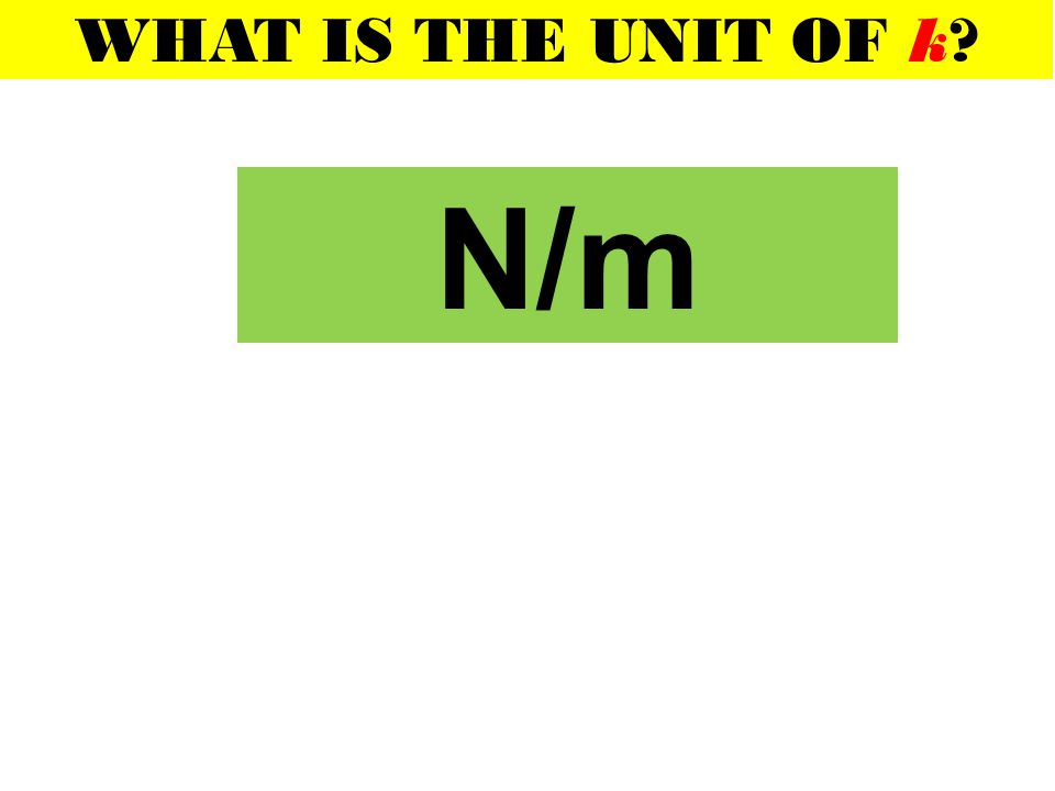 WHAT IS THE UNIT OF k N/m