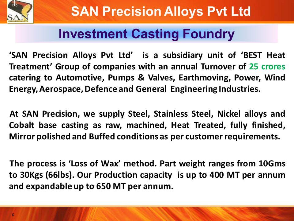 SAN Precision Alloys Pvt Ltd Organizational Structure Chairman R.Nagarajan Tech.Head S.P.Sekhar Quality Team Maintenance Team Production / AMR Team DGM / MR A.Ravi Shankar Supply Chain Team CRM Team Administration Team MD N.Vigneswaran