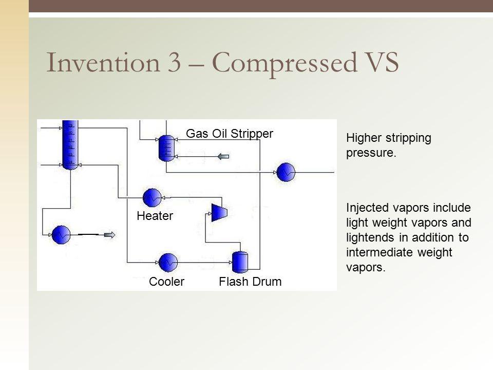 Invention 3 – Compressed VS Cooler Heater Flash Drum Gas Oil Stripper Higher stripping pressure.
