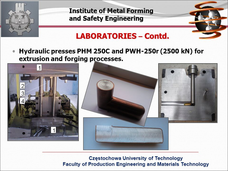 LABORATORIES – Contd. Institute of Metal Forming and Safety Engineering Częstochowa University of Technology Faculty of Production Engineering and Mat