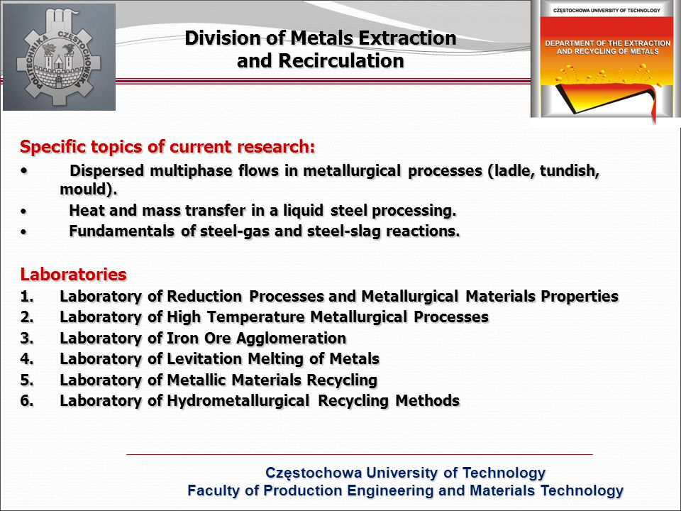 Specific topics of current research: Dispersed multiphase flows in metallurgical processes (ladle, tundish, mould).