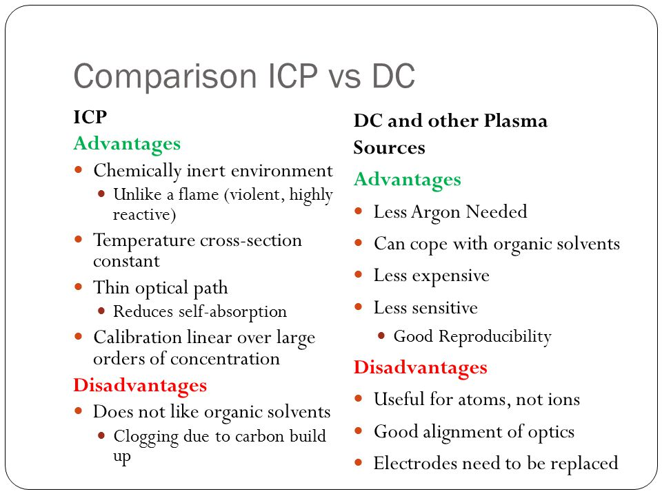 Comparison ICP vs DC ICP Advantages Chemically inert environment Unlike a flame (violent, highly reactive) Temperature cross-section constant Thin opt