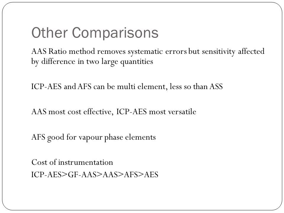 Other Comparisons AAS Ratio method removes systematic errors but sensitivity affected by difference in two large quantities ICP-AES and AFS can be mul