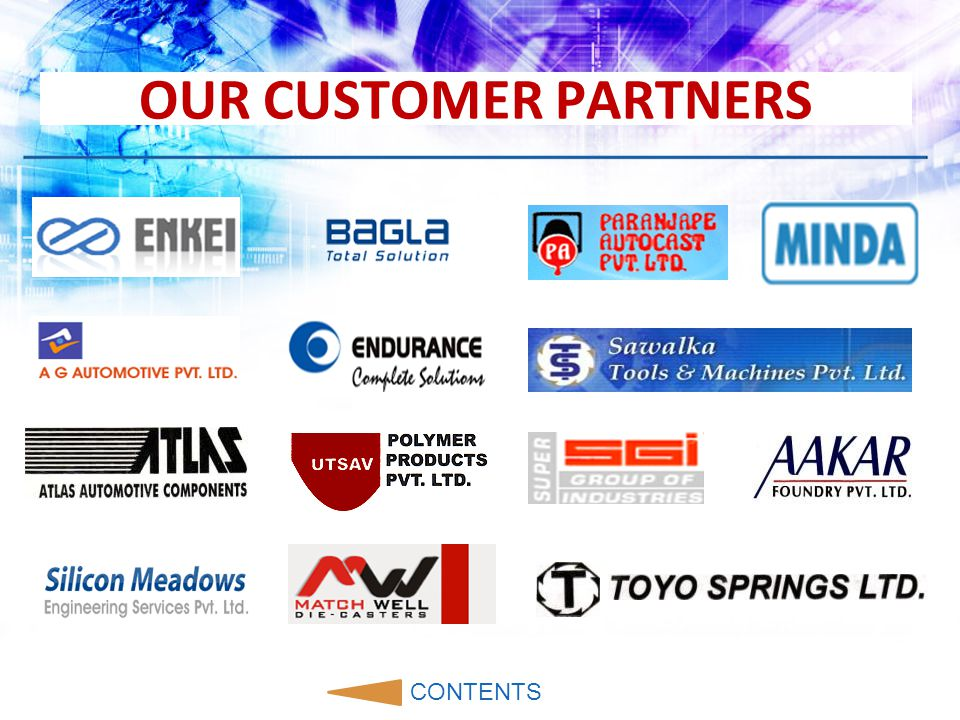 CONTENTS Our Customer Partners Us Our Products Quality Policy & Standards