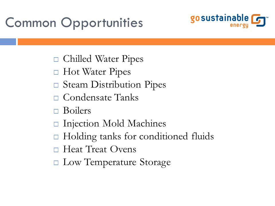 Common Opportunities  Chilled Water Pipes  Hot Water Pipes  Steam Distribution Pipes  Condensate Tanks  Boilers  Injection Mold Machines  Holdi