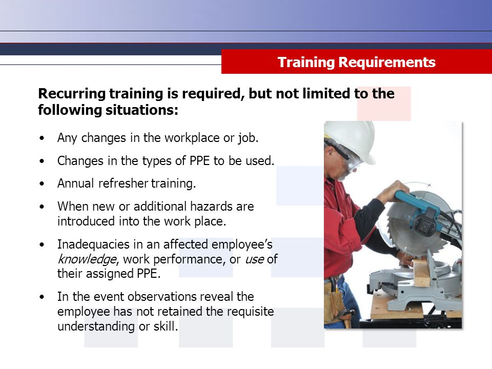 Training Requirements Any changes in the workplace or job.