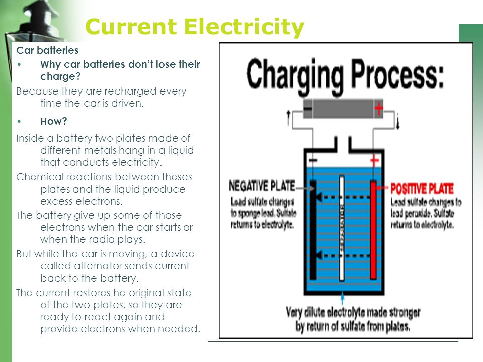 Current Electricity Car batteries Why car batteries don't lose their charge.