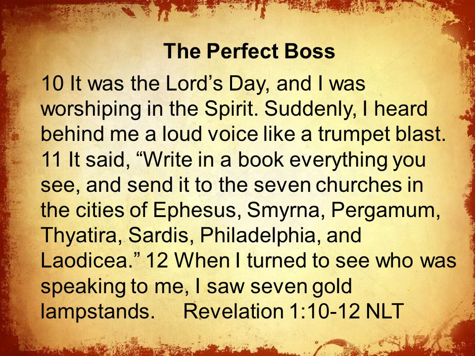 The The Perfect Boss 10 It was the Lord's Day, and I was worshiping in the Spirit.