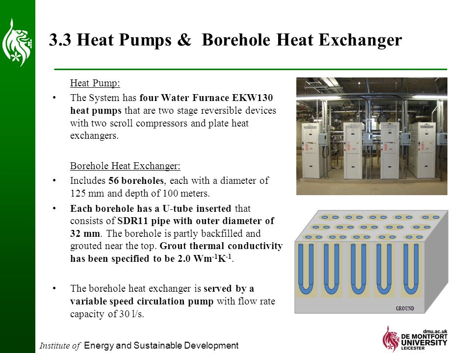 Institute of Energy and Sustainable Development 3.3 Heat Pumps & Borehole Heat Exchanger Heat Pump: The System has four Water Furnace EKW130 heat pumps that are two stage reversible devices with two scroll compressors and plate heat exchangers.