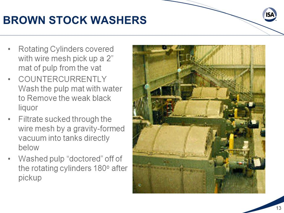 "13 BROWN STOCK WASHERS Rotating Cylinders covered with wire mesh pick up a 2"" mat of pulp from the vat COUNTERCURRENTLY Wash the pulp mat with water t"