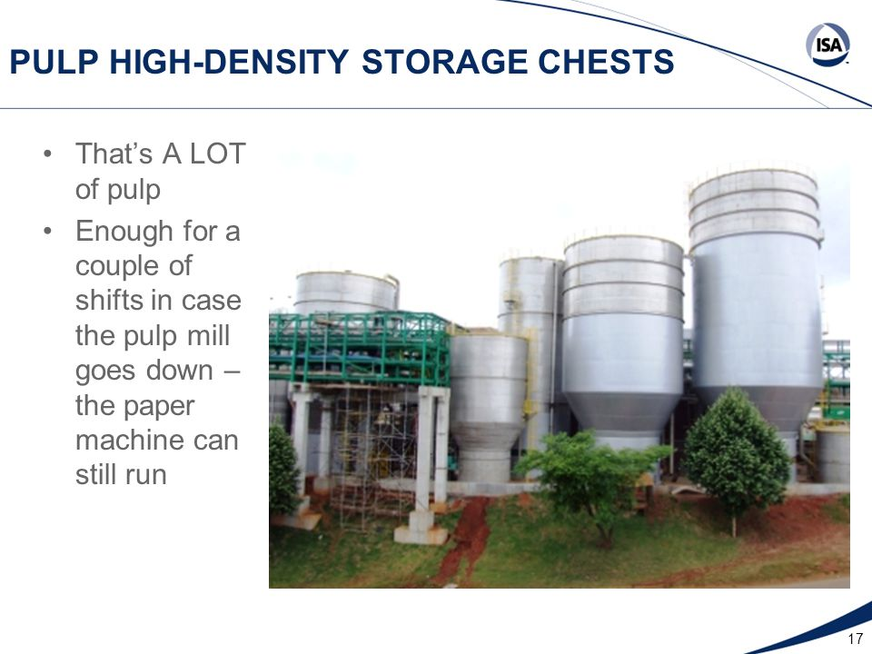 17 PULP HIGH-DENSITY STORAGE CHESTS That's A LOT of pulp Enough for a couple of shifts in case the pulp mill goes down – the paper machine can still run