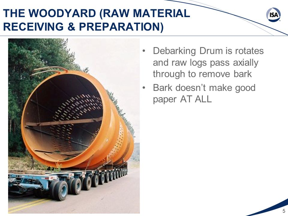 5 THE WOODYARD (RAW MATERIAL RECEIVING & PREPARATION) Debarking Drum is rotates and raw logs pass axially through to remove bark Bark doesn't make goo