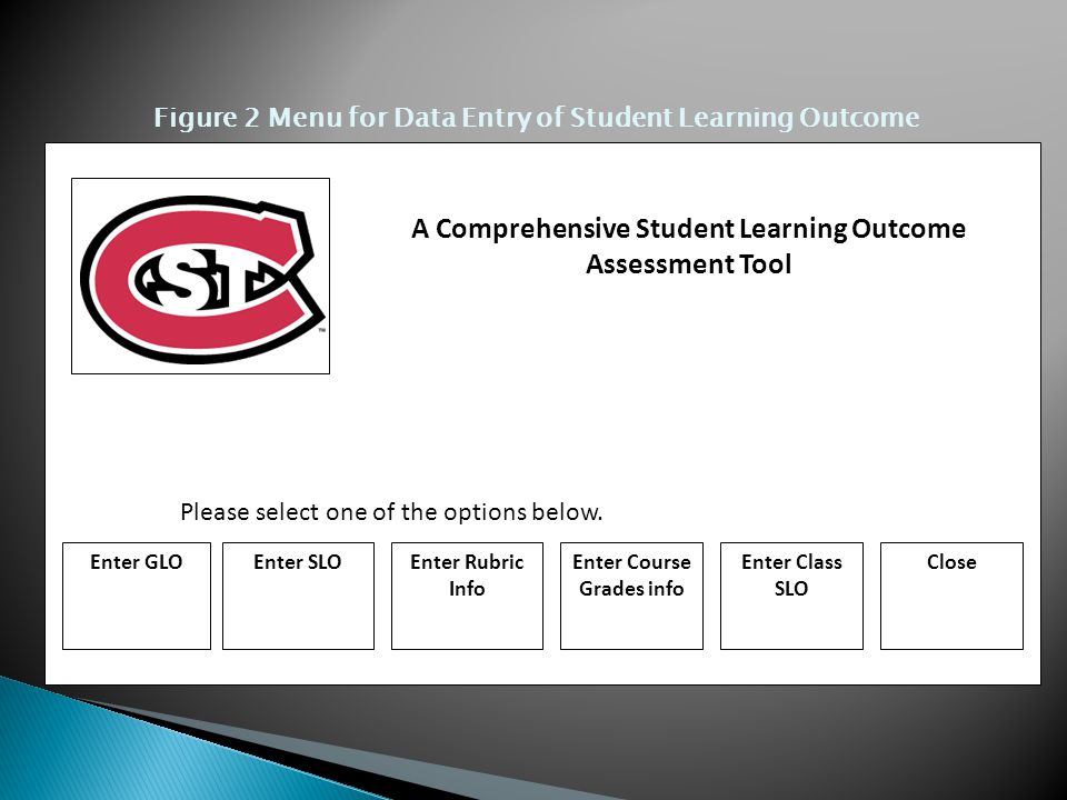 A Comprehensive Student Learning Outcome Assessment Tool Enter GLOEnter SLOEnter Rubric Info Enter Course Grades info Enter Class SLO Close Please select one of the options below.