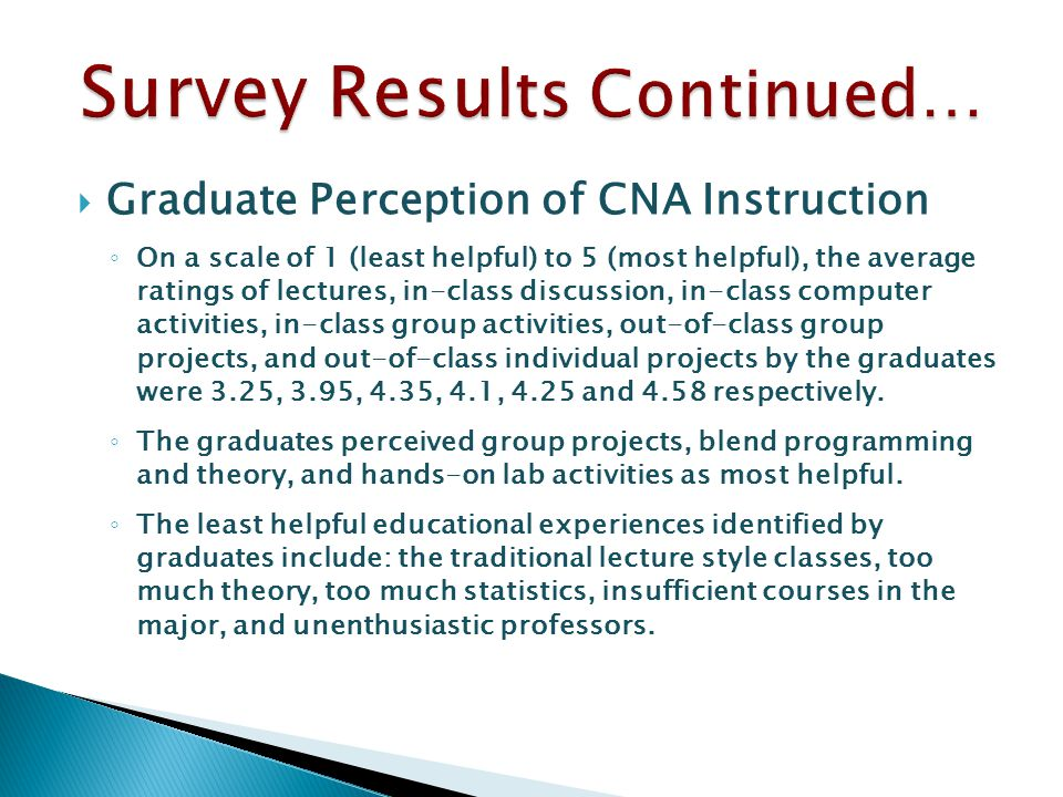  Graduate Perception of CNA Instruction ◦ On a scale of 1 (least helpful) to 5 (most helpful), the average ratings of lectures, in-class discussion, in-class computer activities, in-class group activities, out-of-class group projects, and out-of-class individual projects by the graduates were 3.25, 3.95, 4.35, 4.1, 4.25 and 4.58 respectively.