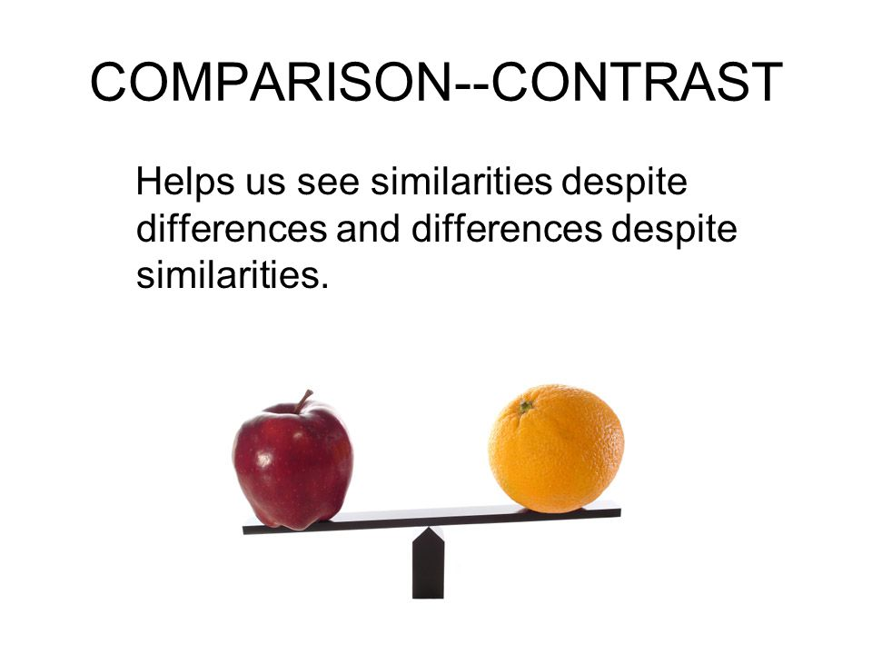 COMPARISON--CONTRAST Helps us see similarities despite differences and differences despite similarities.