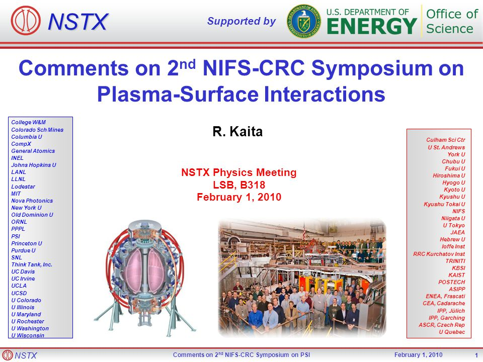 NSTX Comments on 2 nd NIFS-CRC Symposium on PSIFebruary 1, 2010 1 NSTX Supported by College W&M Colorado Sch Mines Columbia U CompX General Atomics INEL Johns Hopkins U LANL LLNL Lodestar MIT Nova Photonics New York U Old Dominion U ORNL PPPL PSI Princeton U Purdue U SNL Think Tank, Inc.