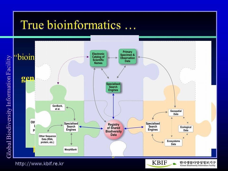 http://www.kbif.re.kr biodiversity informatics True bioinformatics … bioinformatics ecoinformatics genomics proteomics Global Biodiversity Information Facility
