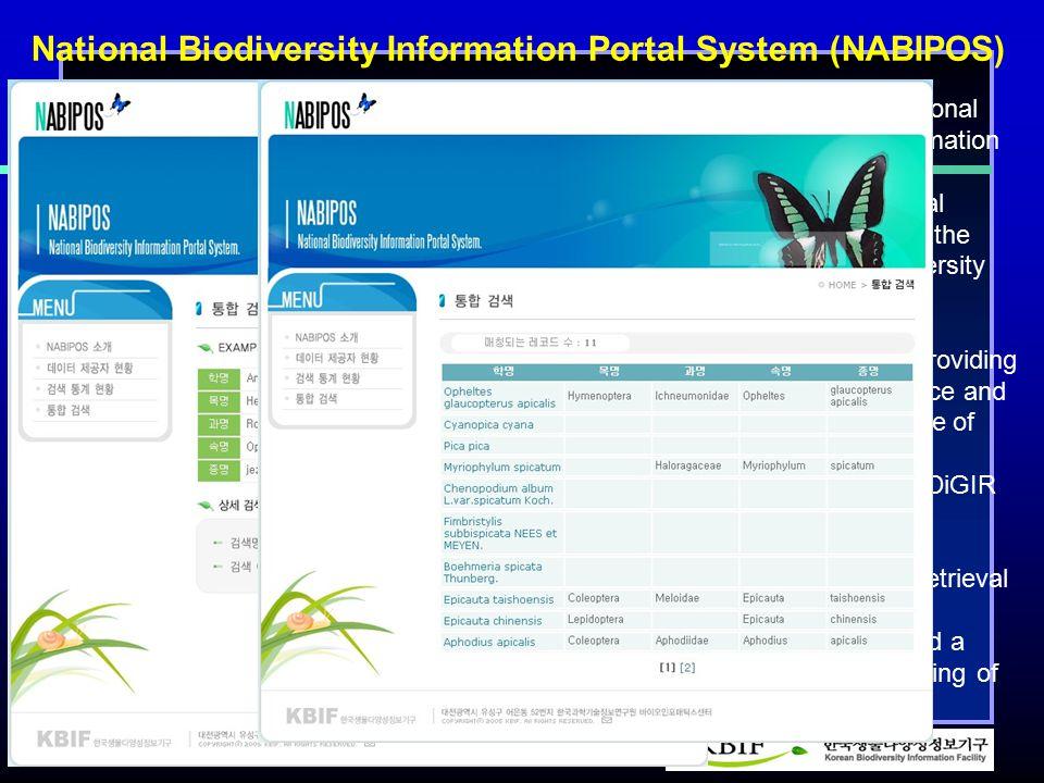 http://www.kbif.re.kr National Biodiversity Information Portal System (NABIPOS) 1. NABIPOS(National Biodiversity Information Portal System) is integra
