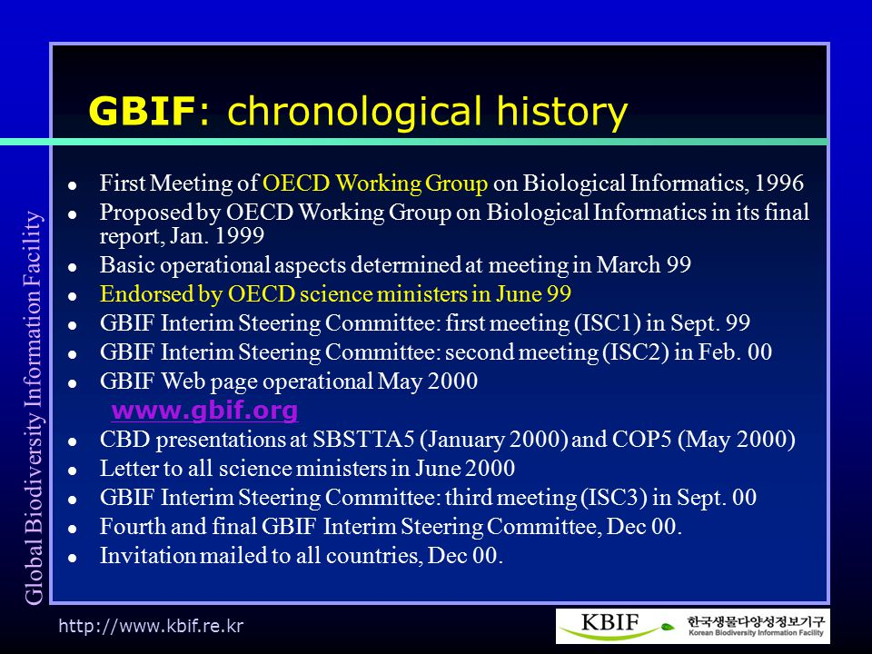 http://www.kbif.re.kr GBIF: chronological history First Meeting of OECD Working Group on Biological Informatics, 1996 Proposed by OECD Working Group on Biological Informatics in its final report, Jan.