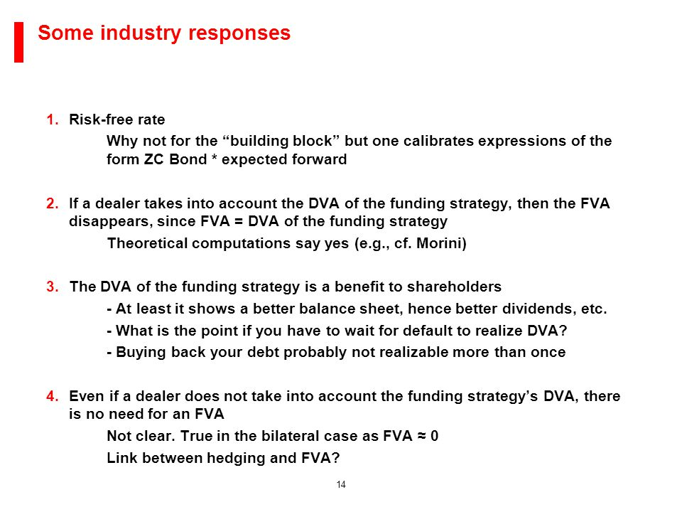 14 Some industry responses 1.Risk-free rate Why not for the building block but one calibrates expressions of the form ZC Bond * expected forward 2.If a dealer takes into account the DVA of the funding strategy, then the FVA disappears, since FVA = DVA of the funding strategy Theoretical computations say yes (e.g., cf.