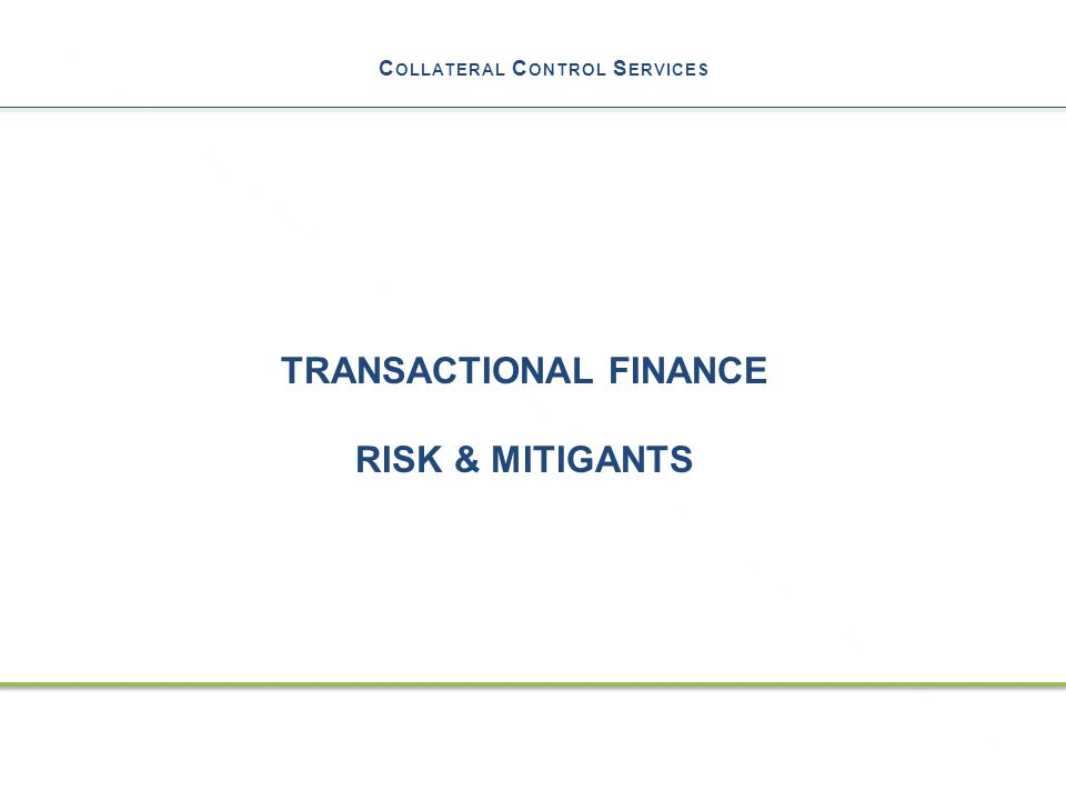 C OLLATERAL C ONTROL S ERVICES TRANSACTIONAL FINANCE RISK & MITIGANTS 13