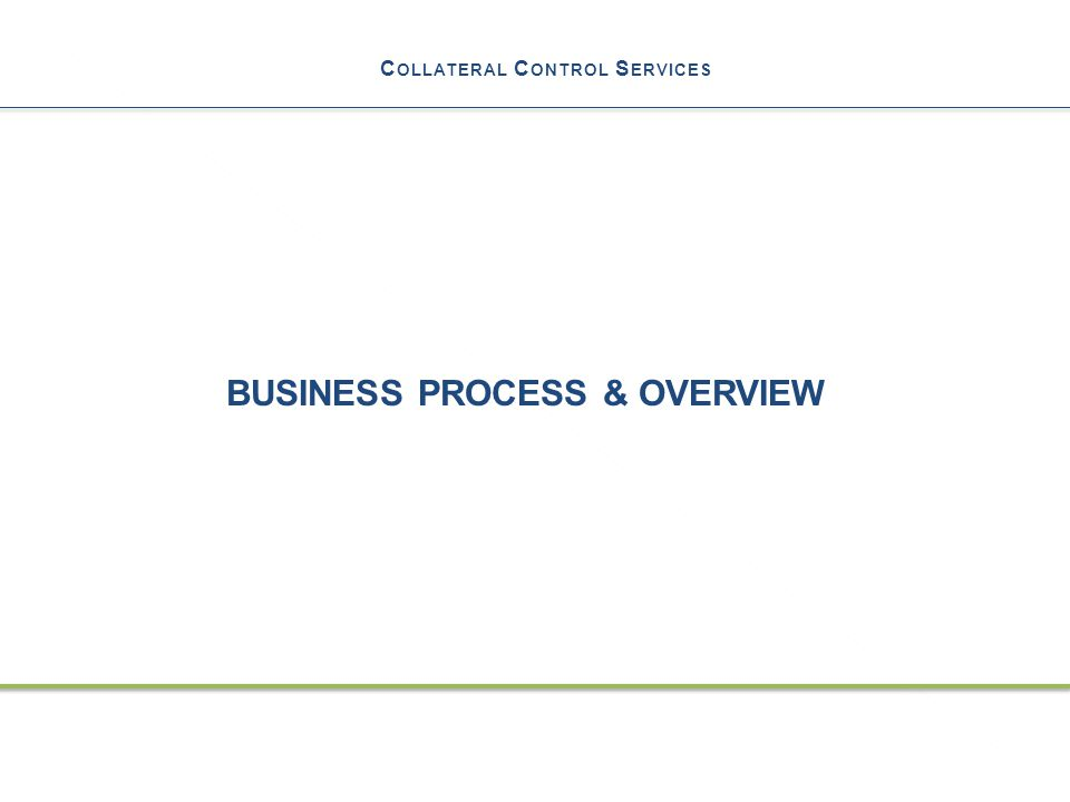 C OLLATERAL C ONTROL S ERVICES BUSINESS PROCESS & OVERVIEW 21