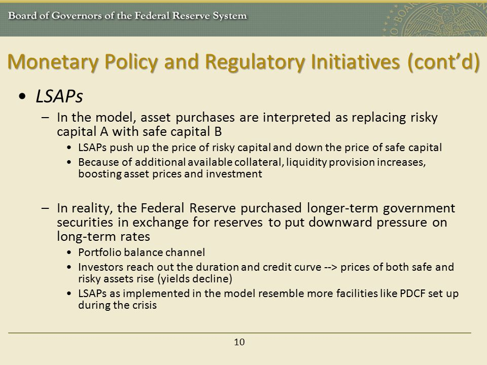Monetary Policy and Regulatory Initiatives (cont'd) LSAPs –In the model, asset purchases are interpreted as replacing risky capital A with safe capital B LSAPs push up the price of risky capital and down the price of safe capital Because of additional available collateral, liquidity provision increases, boosting asset prices and investment –In reality, the Federal Reserve purchased longer-term government securities in exchange for reserves to put downward pressure on long-term rates Portfolio balance channel Investors reach out the duration and credit curve --> prices of both safe and risky assets rise (yields decline) LSAPs as implemented in the model resemble more facilities like PDCF set up during the crisis 10