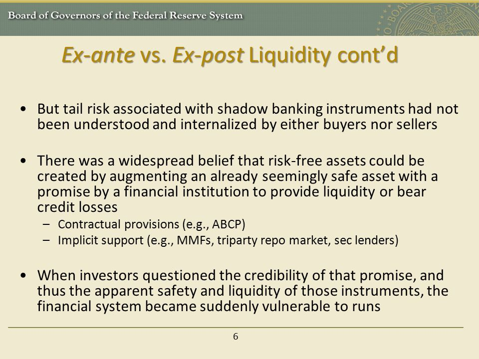 Ex-ante vs. Ex-post Liquidity cont'd But tail risk associated with shadow banking instruments had not been understood and internalized by either buyer