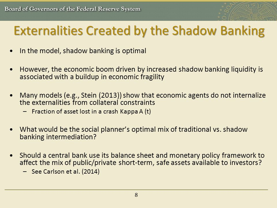Externalities Created by the Shadow Banking In the model, shadow banking is optimal However, the economic boom driven by increased shadow banking liqu