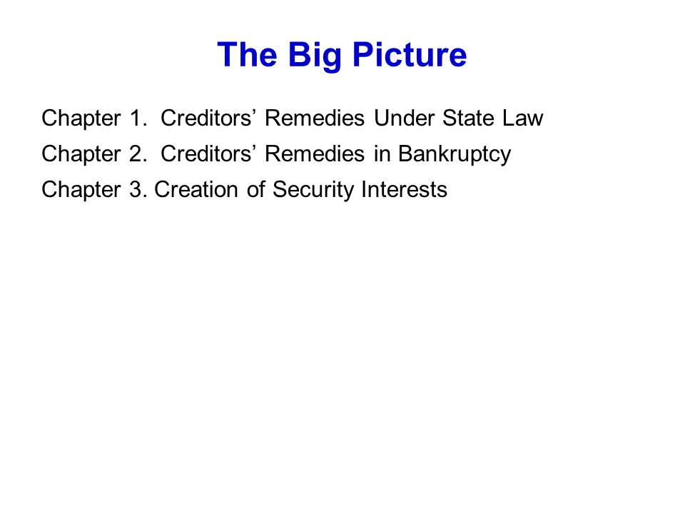 The Big Picture Chapter 1. Creditors' Remedies Under State Law Chapter 2.