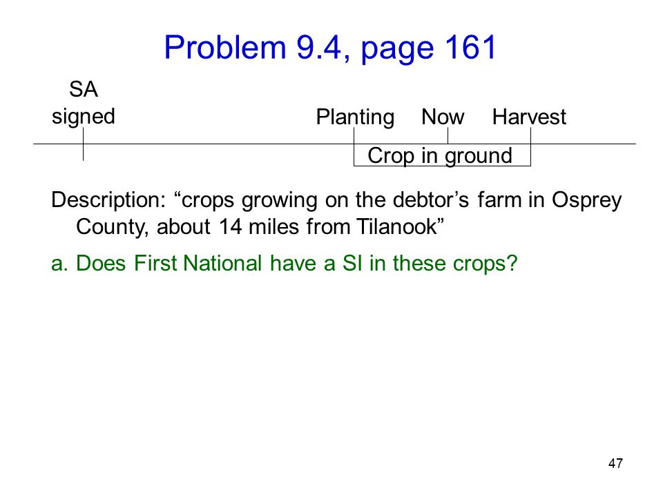 Problem 9.4, page 161 47 Description: crops growing on the debtor's farm in Osprey County, about 14 miles from Tilanook a.Does First National have a SI in these crops.