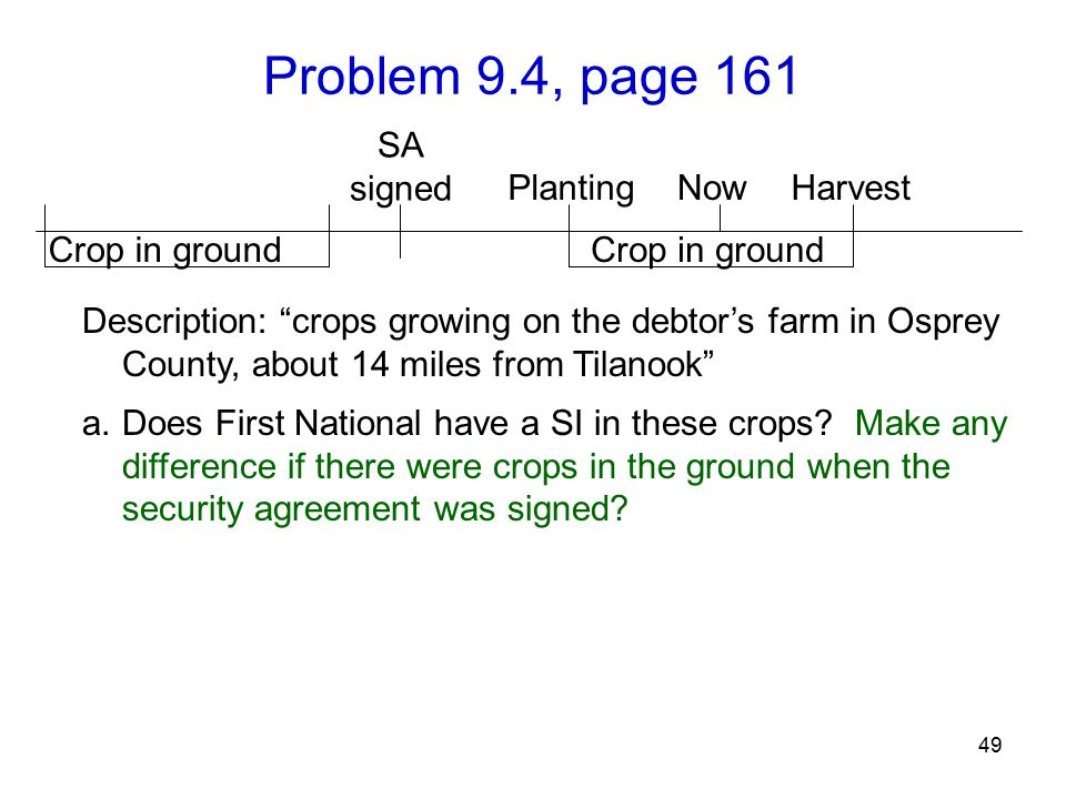 Problem 9.4, page 161 49 SA signed Description: crops growing on the debtor's farm in Osprey County, about 14 miles from Tilanook a.Does First National have a SI in these crops.