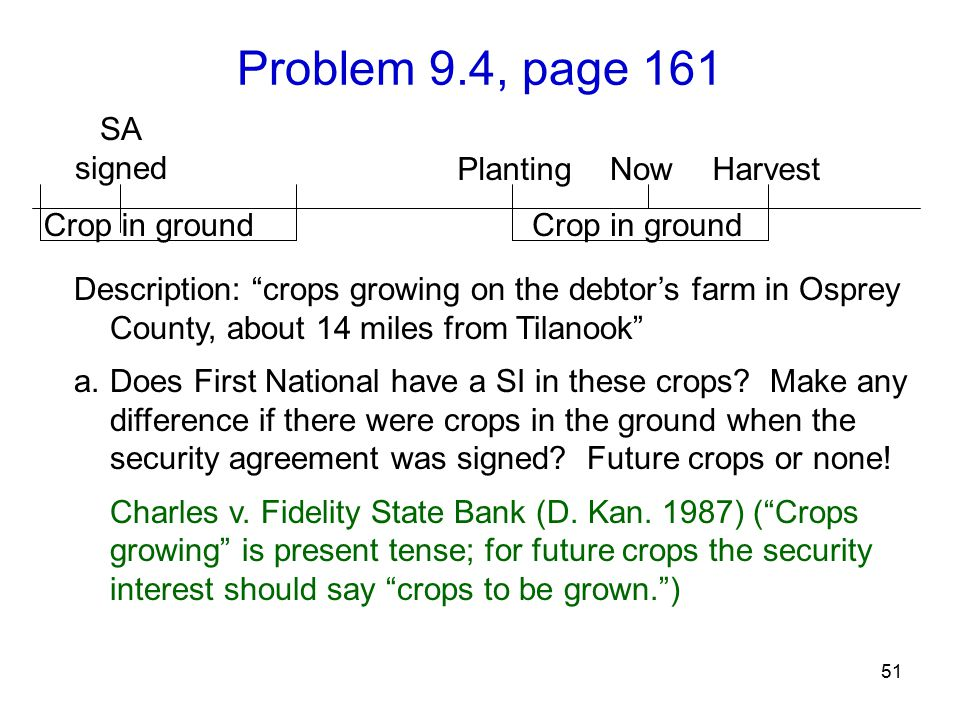 Problem 9.4, page 161 51 Description: crops growing on the debtor's farm in Osprey County, about 14 miles from Tilanook a.Does First National have a SI in these crops.