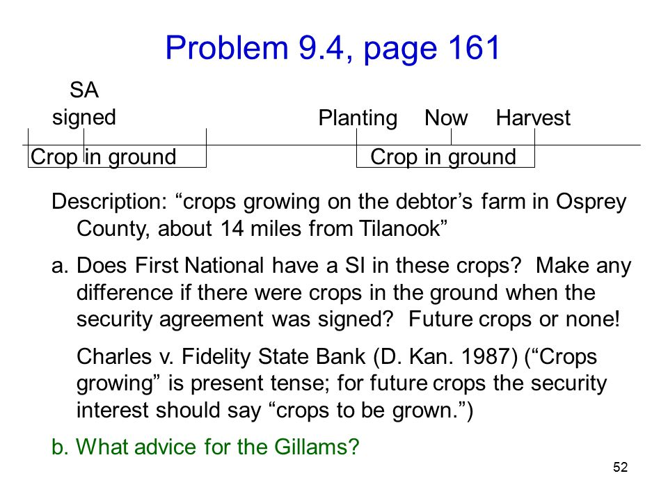 "Problem 9.4, page 161 52 Description: ""crops growing on the debtor's farm in Osprey County, about 14 miles from Tilanook"" a.Does First National have a"