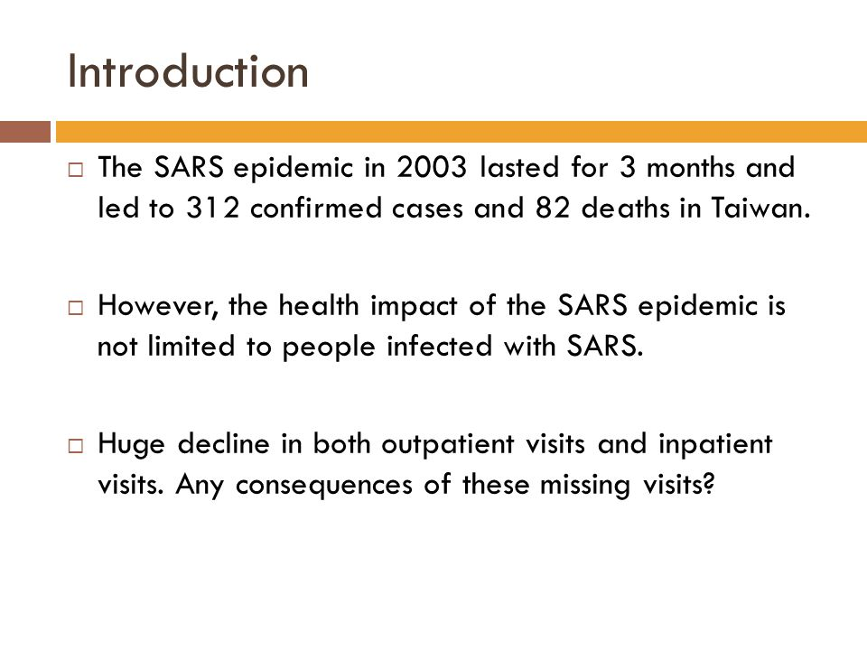 Introduction  The SARS epidemic in 2003 lasted for 3 months and led to 312 confirmed cases and 82 deaths in Taiwan.