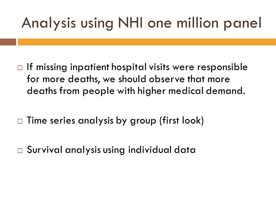Analysis using NHI one million panel  If missing inpatient hospital visits were responsible for more deaths, we should observe that more deaths from