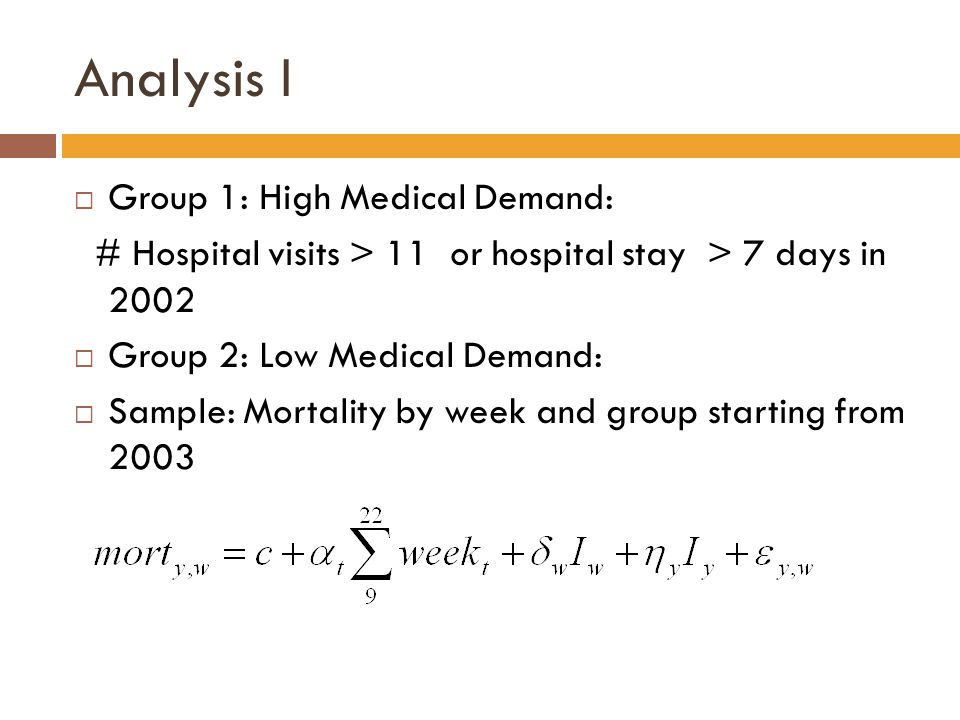 Analysis I  Group 1: High Medical Demand: # Hospital visits > 11 or hospital stay > 7 days in 2002  Group 2: Low Medical Demand:  Sample: Mortality