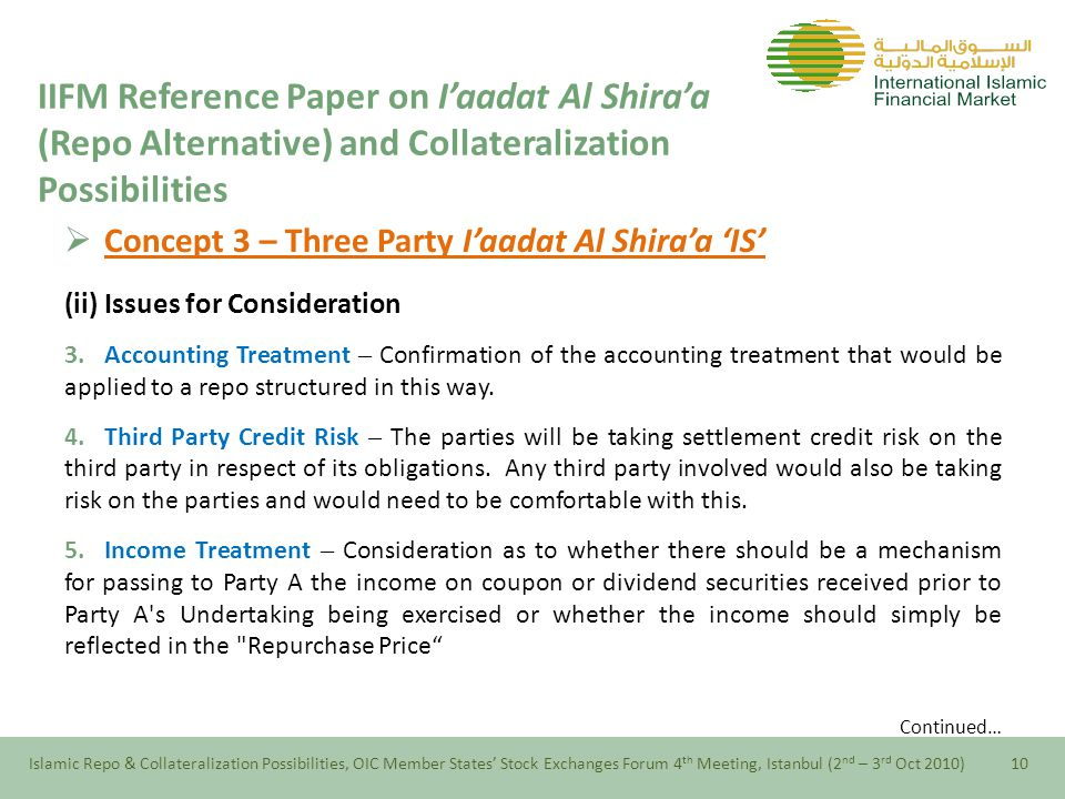  Concept 3 – Three Party I'aadat Al Shira'a 'IS' (ii) Issues for Consideration 3.Accounting Treatment – Confirmation of the accounting treatment that would be applied to a repo structured in this way.