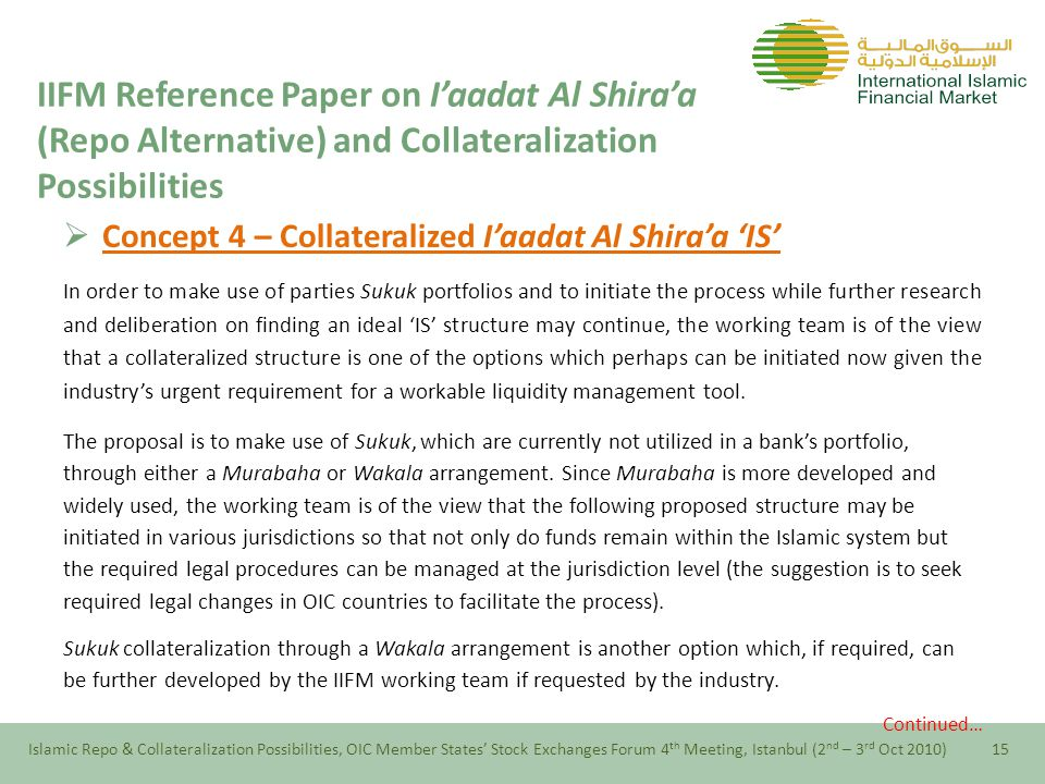  Concept 4 – Collateralized I'aadat Al Shira'a 'IS' In order to make use of parties Sukuk portfolios and to initiate the process while further research and deliberation on finding an ideal 'IS' structure may continue, the working team is of the view that a collateralized structure is one of the options which perhaps can be initiated now given the industry's urgent requirement for a workable liquidity management tool.